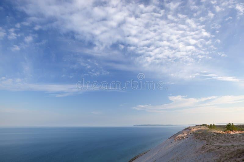 Lake Michigan Shoreline. Landscape of the shoreline of Lake Michigan with beautiful clouds, Sleeping Bear Dunes National Lakeshore, Michigan, USA stock photos