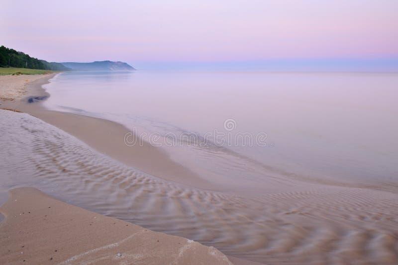 Lake Michigan at Sleeping Bear Dunes. Landscape at dawn of Lake Michigan shoreline, Sleeping Bear Dunes National Lakeshore, Michigan, USA royalty free stock photo