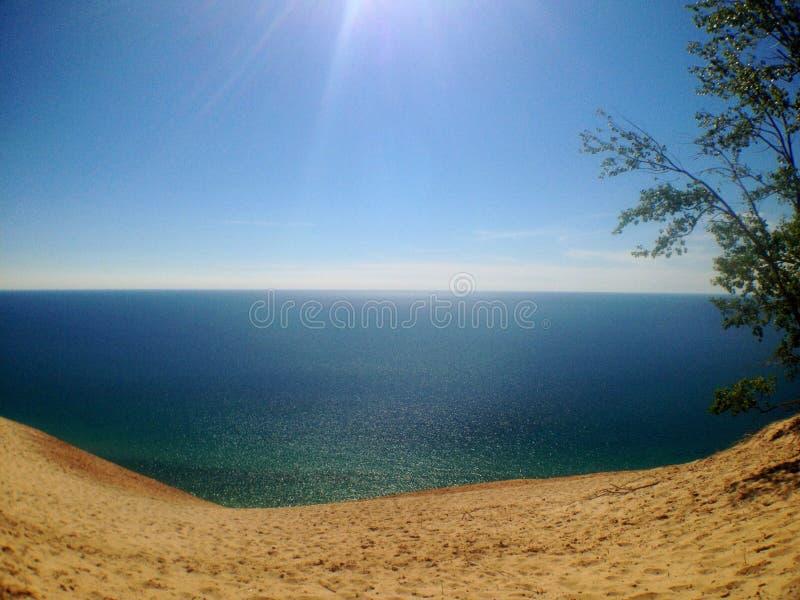 Lake Michigan. Sleeping Bear Sand dunes overlooking Lake Michigan royalty free stock photo
