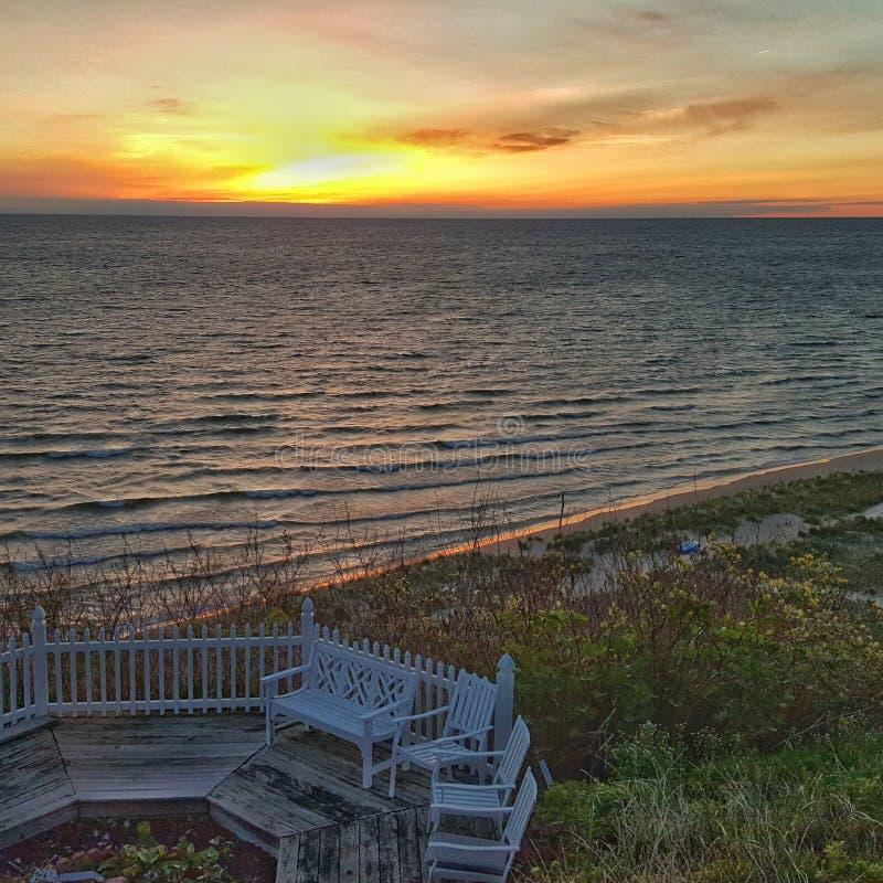 Lake Michigan solnedgång arkivfoton