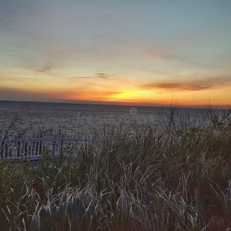 Lake Michigan solnedgång arkivbilder