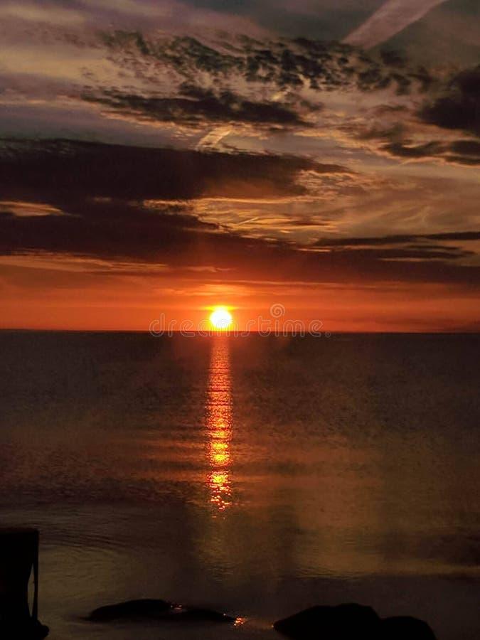 Lake Michigan soluppsättning arkivfoton