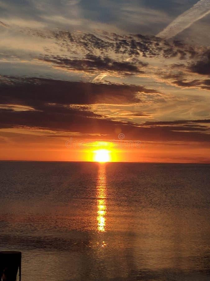 Lake Michigan soluppsättning arkivbilder