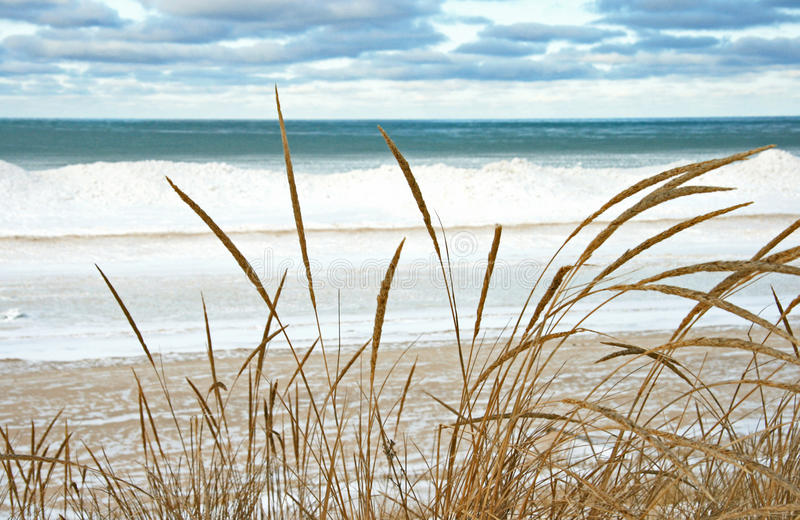 Lake Michigan in Winter. A shot of Lake Michigan's snow and ice shoreline in winter. Taken from Arcadia, Michigan royalty free stock photos
