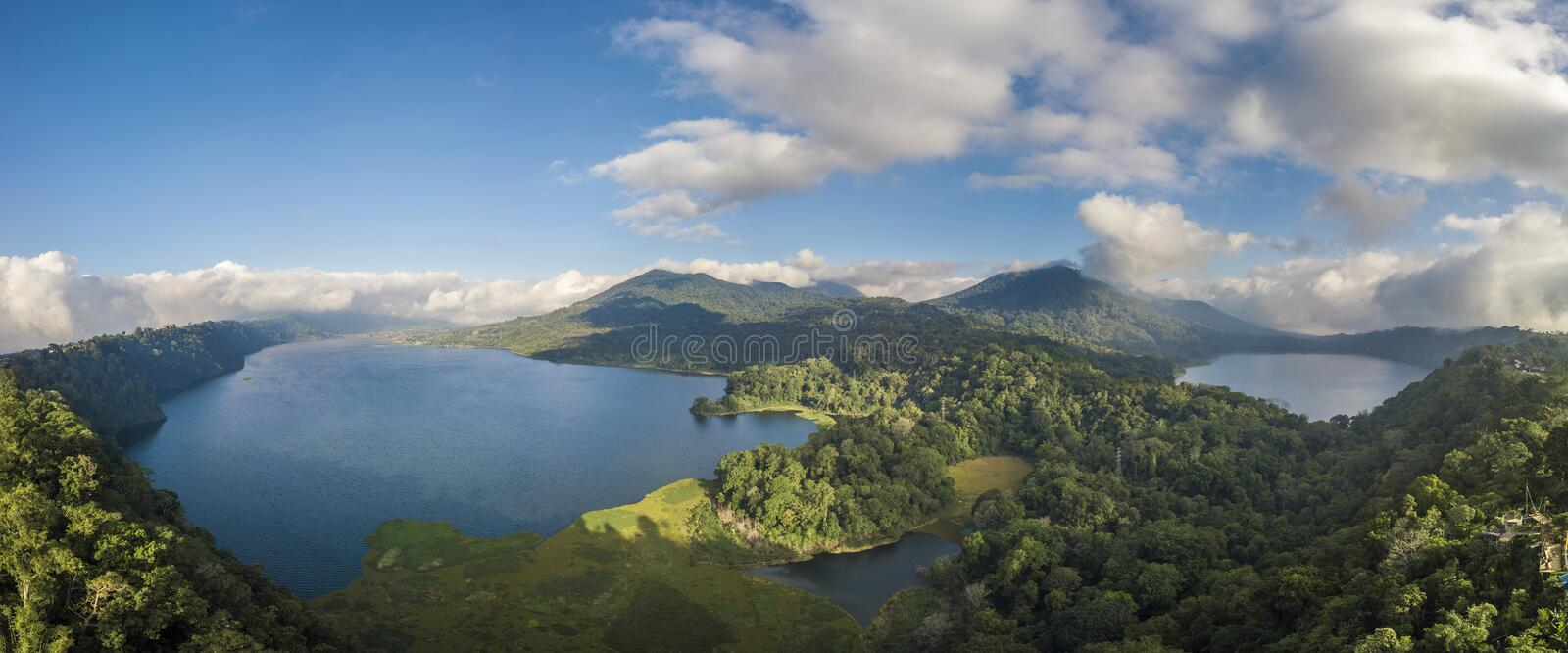 Lake in the middle of mountains of Bali royalty free stock photo