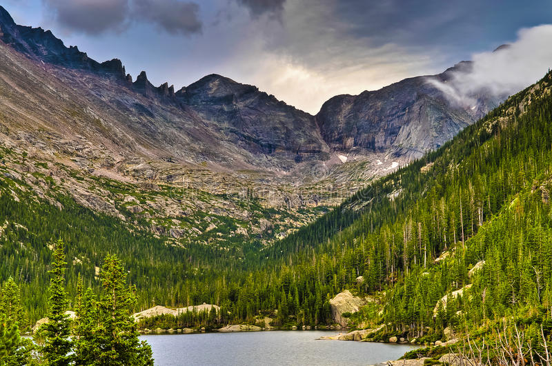 Lake Mills overlook. Mills Lake in Glacier Gorge from the trail to Black Lake. Long's Peak, Keyboard of the Winds, Pagoda Mountain and Spearhead visible in the stock photos