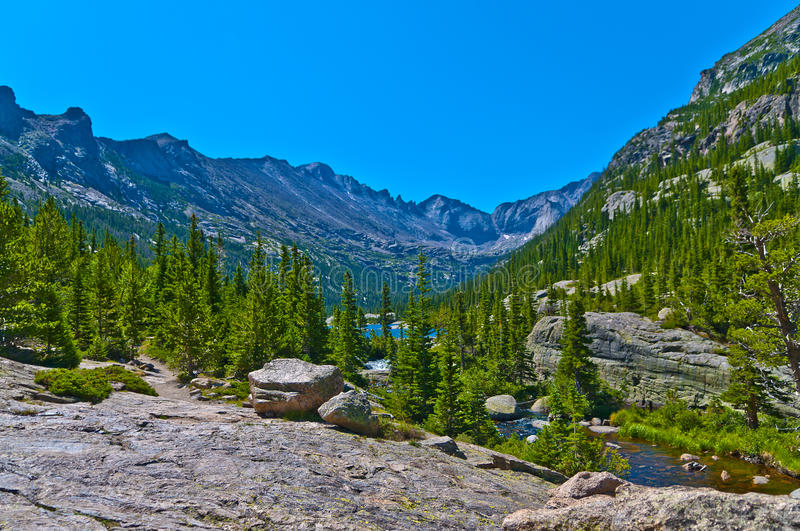 Lake Mills overlook. Mills Lake in Glacier Gorge from the trail to Black Lake. Long's Peak, Keyboard of the Winds, Pagoda Mountain and Spearhead visible in the royalty free stock images