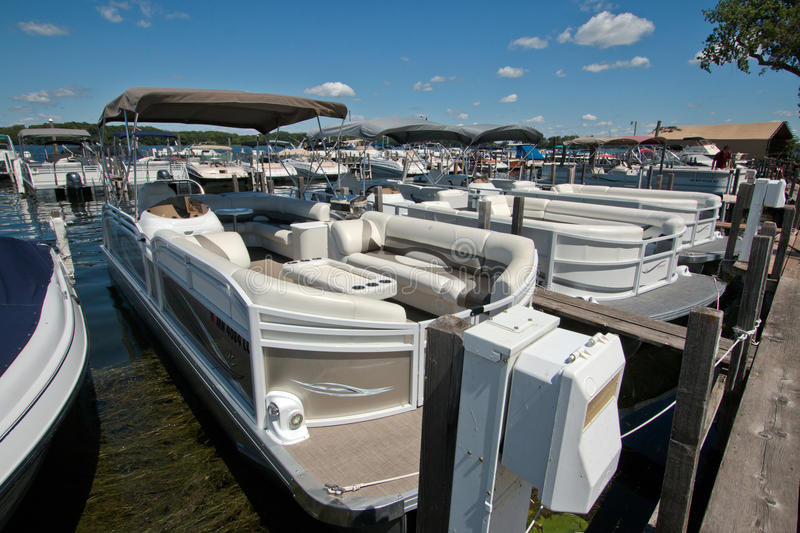 Lake Minnetonka, Minnesota, Boating Club. Boating clubs offer the use of new models of upscale boats without the hassle of owning, mooring, storing, or insuring royalty free stock image
