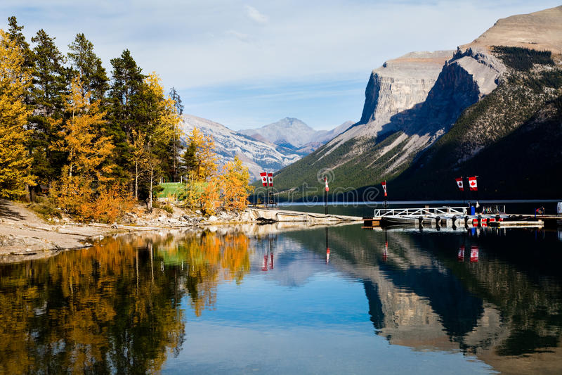 Lake Minnewanka. At Banff National park. Alberta. Canada, Oct. 2011 stock photography