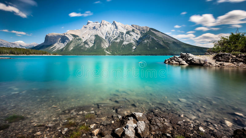 Lake Minnewanka. Is the largest lake in the Banff National Park, Alberta, Canada royalty free stock images