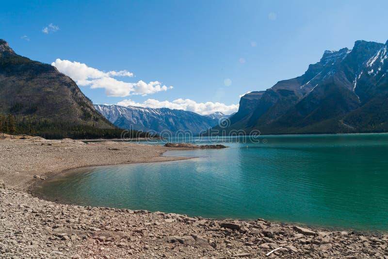 Lake Minnewanka, Alberta, Canada. Blue waters of Lake Minnewanka, Banff National Park, Alberta, Canada stock photo