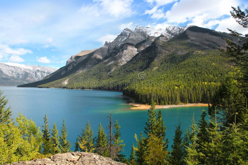Banff national park in autumn time. Lake Minnewanka in Banff national park in autumn time stock photo