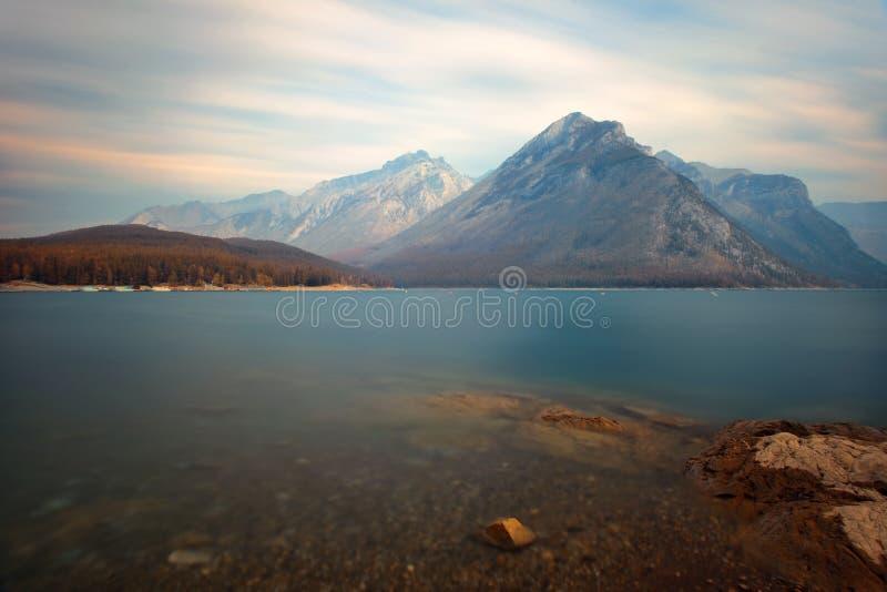 Lake Minnewanka. With long exposure in Banff National Park royalty free stock image