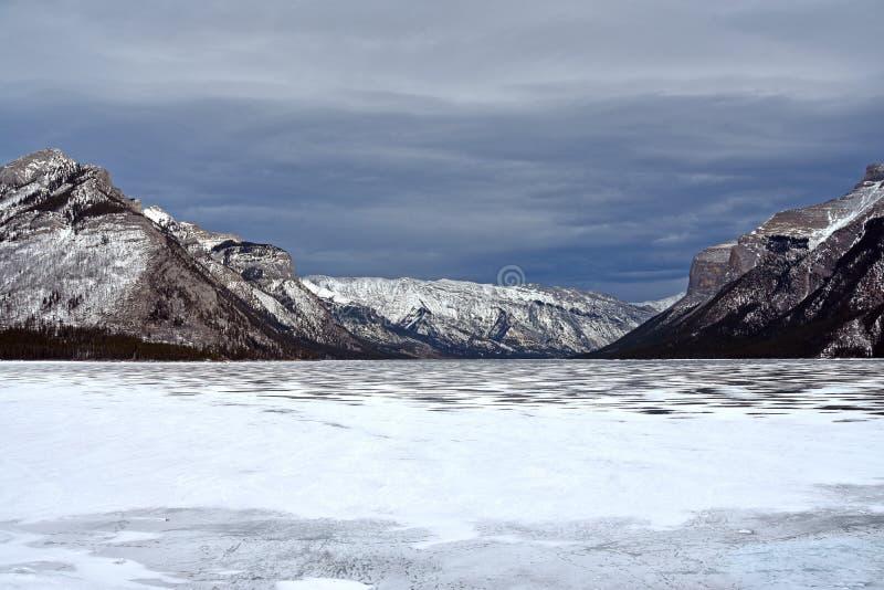 Lake Minnewanka. Picture taken from shore of Lake Minnewanka in Banff national Park, Alberta, Canada stock image