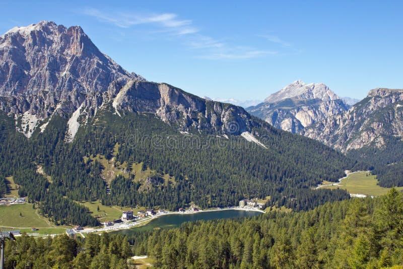 Lake Misurina, Dolomites in South Tyrol, Italy royalty free stock photography