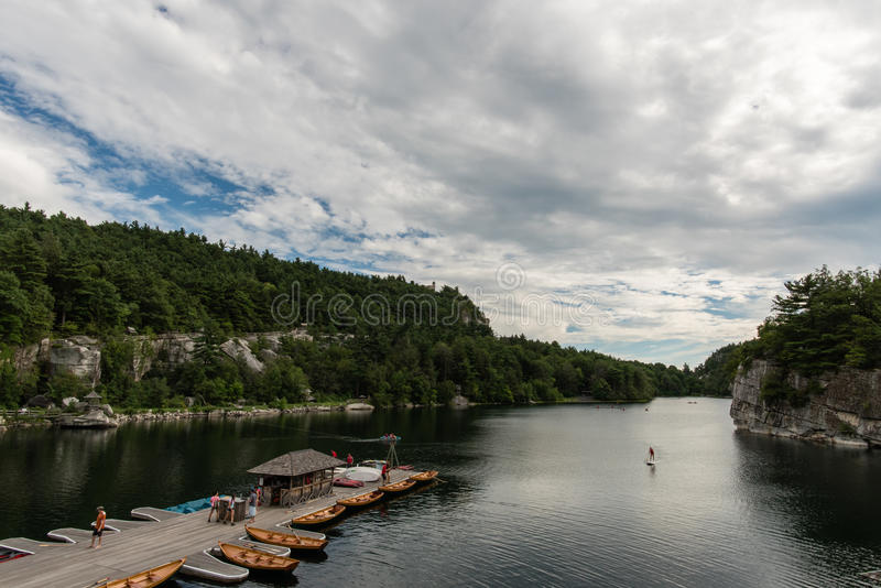 Lake Mohonk in the summer stock photos