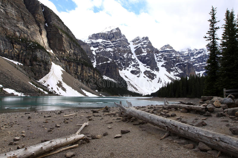 Lake Moraine. Classic view of Moraine Lake and the Canadian Rockies stock photography