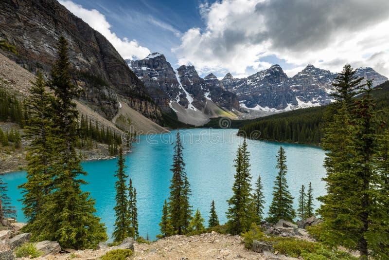 Lake Moraine in Banff National Park of Canada Alberta stock photos
