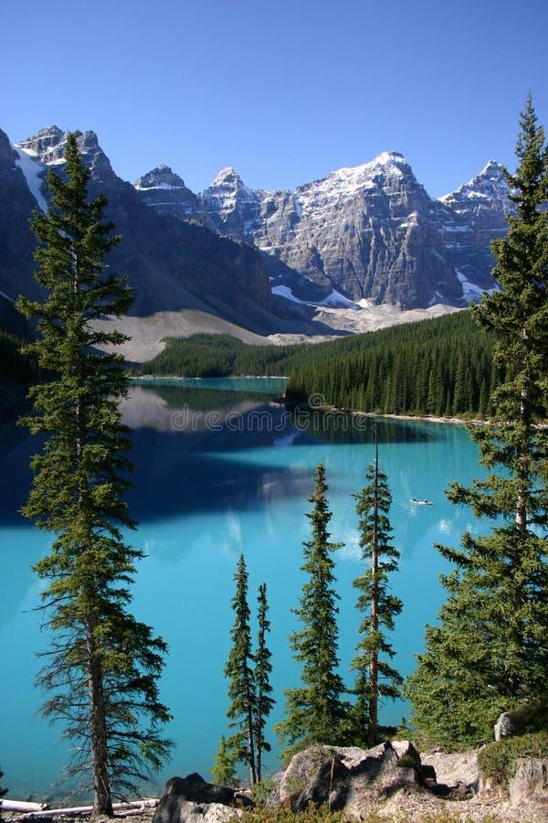 Lake Moraine Canoeing royalty free stock image