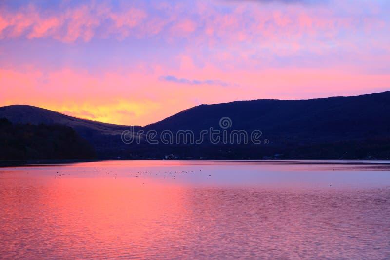 Lake of morning glow. Lake Yamanaka of morning glow, Yamanashi, Japan stock image