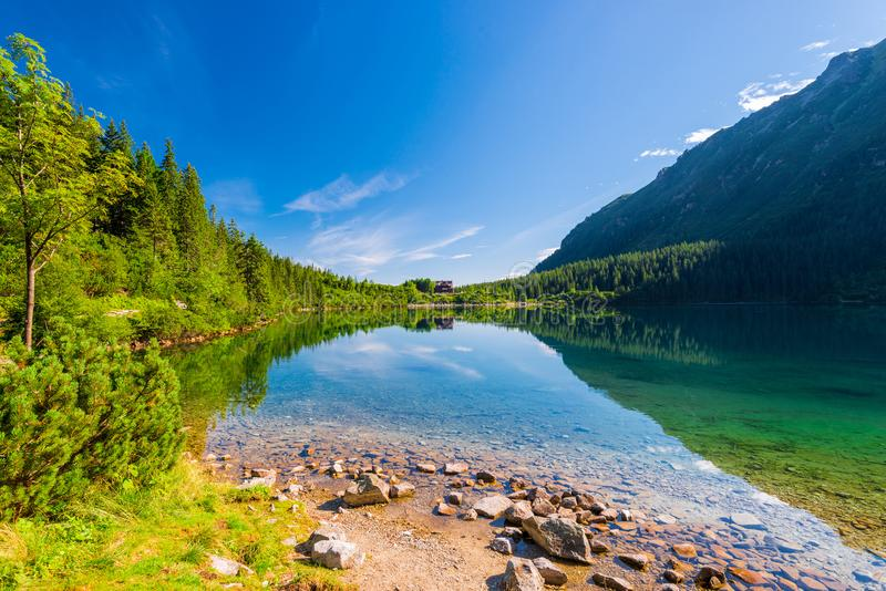 Lake Morskoye Oko, surrounded by forests in the Tatra Mountains, Poland stock images
