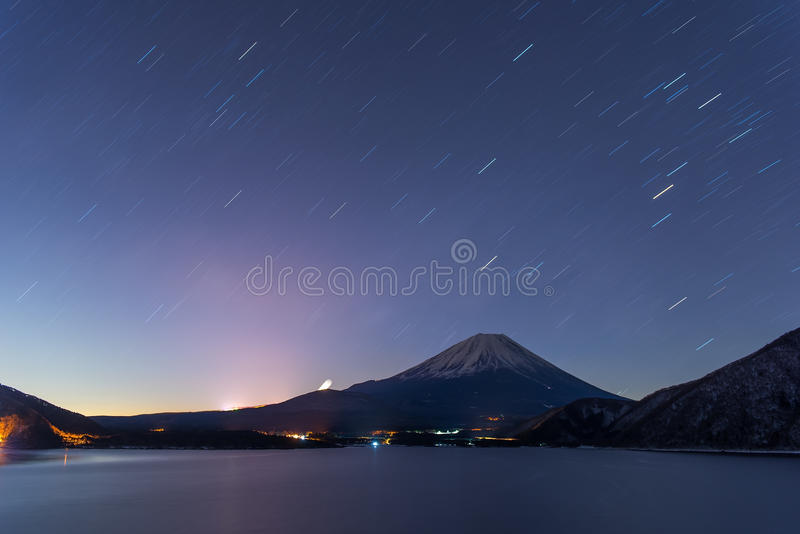 Lake Motosu and mt.Fuji at night time royalty free stock photos