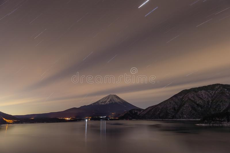 Lake Motosu and mt.Fuji royalty free stock image