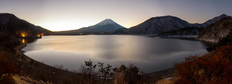 Lake Motosu and mt.Fuji at sunrise time. In winter season royalty free stock images