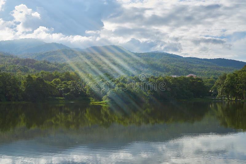 A lake, in the mountain area and have blue sky at background stock photo