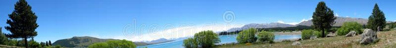Lake & mountain panorama royalty free stock photo
