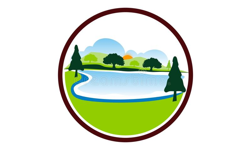 Lake Mountain tree vector illustration