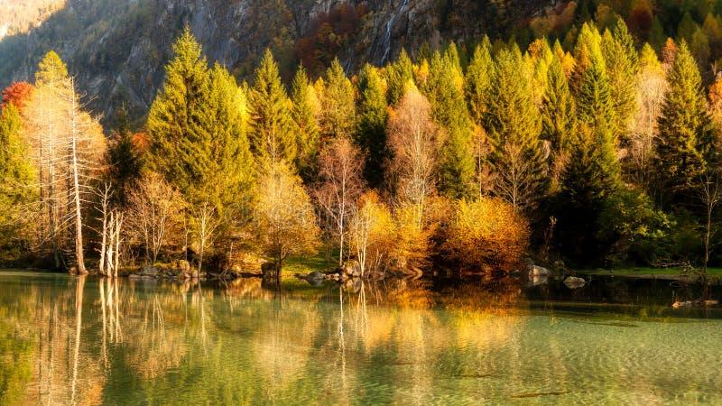 Lake in the mountains in autumn season royalty free stock image