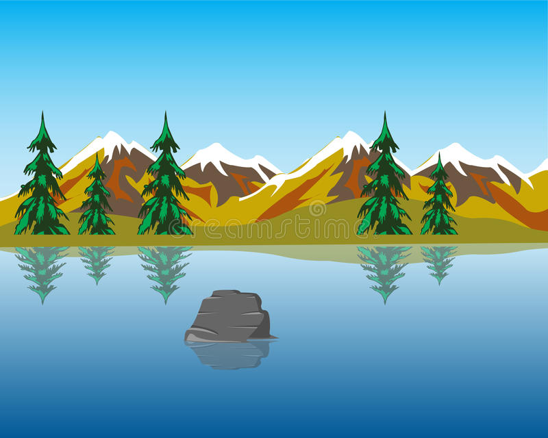 Lake in mountains vector illustration