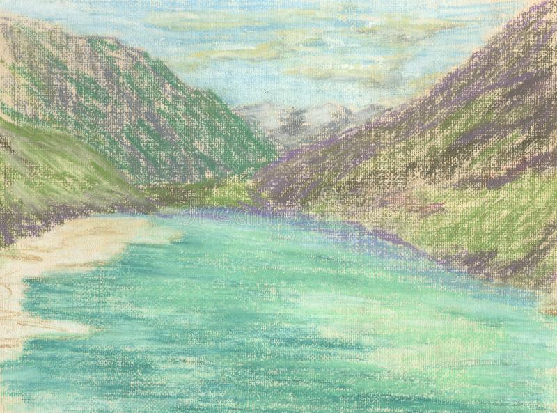 Lake in the mountains, green water of the mountain lake stock illustration