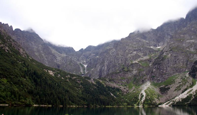 Lake in mountains. Morskie Oko Sea Eye Lake is the most popular place in High Tatra Mountains in Europe,. Poland. Famous tourist place stock images