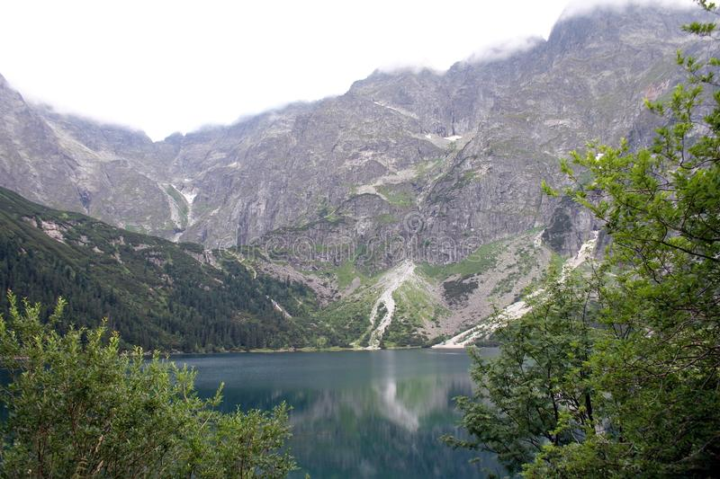 Lake in mountains. Morskie Oko Sea Eye Lake is the most popular place in High Tatra Mountains in Europe, Poland. Famous tourist place royalty free stock image