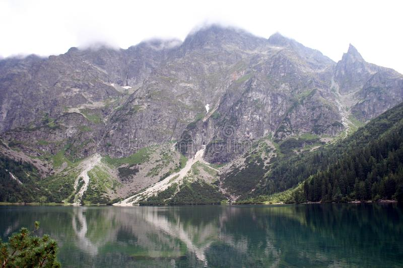 Lake in mountains. Morskie Oko Sea Eye Lake is the most popular place in High Tatra Mountains in Europe, Poland. Famous tourist place royalty free stock photography