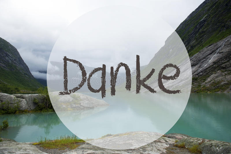 Lake With Mountains, Norway, Danke Means Thank You stock photography