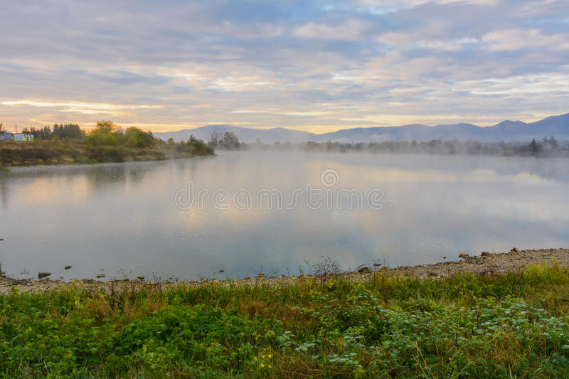 Download Lake In The Mountains For Recreation . Early Morning Stock Photo - Image: 78966932