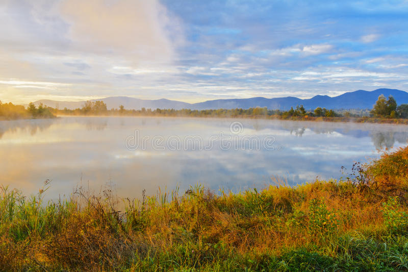 Download Lake In The Mountains For Recreation . Early Morning Stock Photo - Image: 78966942