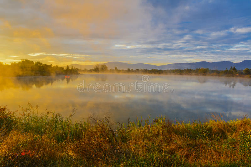 Download Lake In The Mountains For Recreation . Early Morning Stock Photo - Image: 78966956