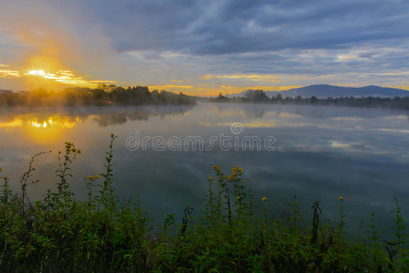 Download Lake In The Mountains For Recreation . Early Morning Stock Photo - Image: 78966962