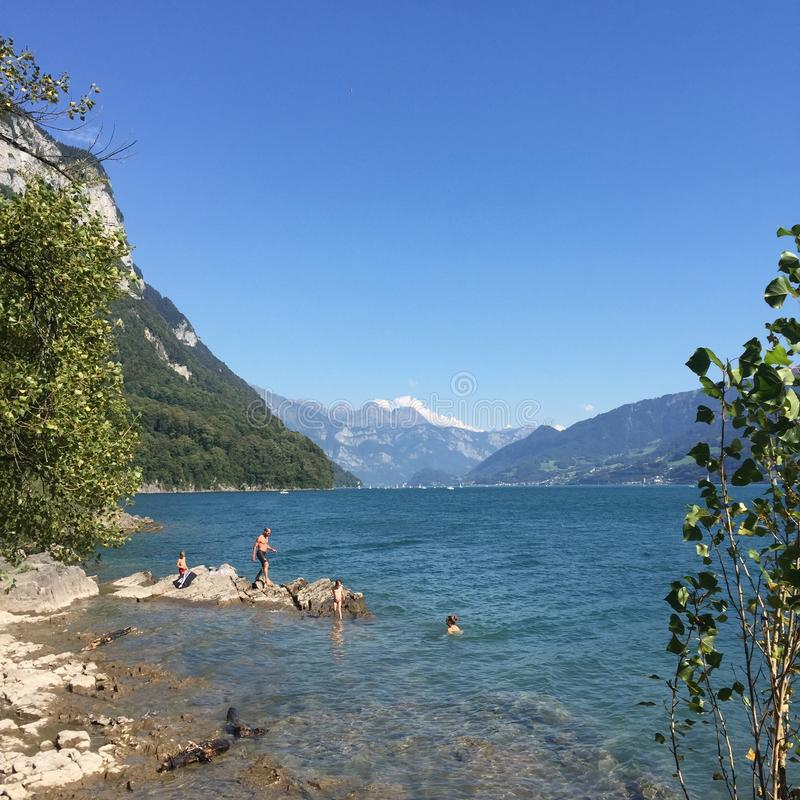 Lake Mountains Summer Switzerland. Green Alps Tourism royalty free stock photos