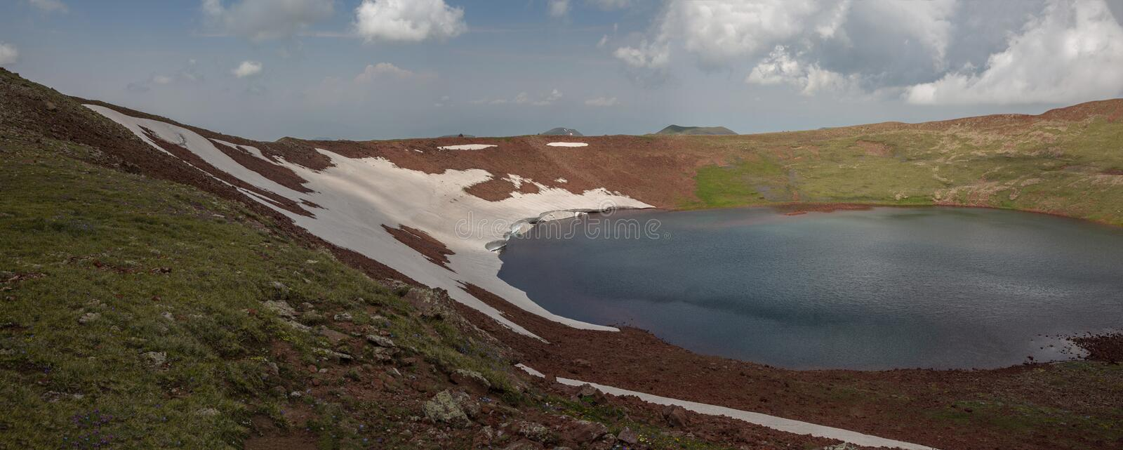 Lake At the mountains volcanic Lake. Volcanic Lake at the mountains Armenia Armenian mountains Ararat Mountains Geghama Mountains royalty free stock photography