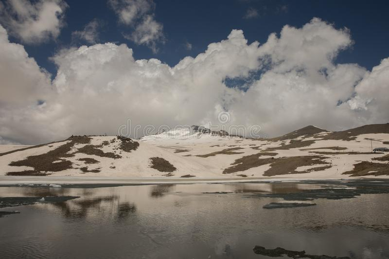 Lake at the Mountains and Snow. Lake at the Mountains Volcanic Lake at the mountains Snowy royalty free stock images