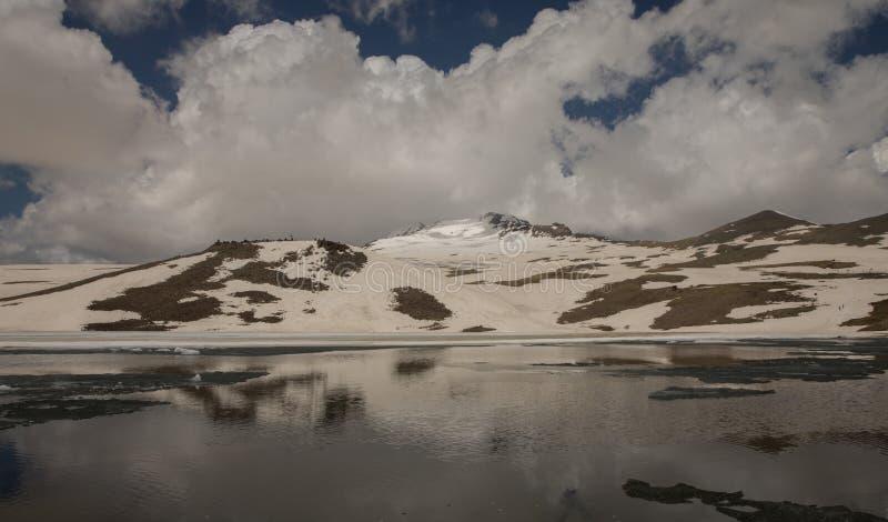 Lake at the Mountains and Snow. Lake at the Mountains Volcanic Lake at the mountains Snowy royalty free stock photo