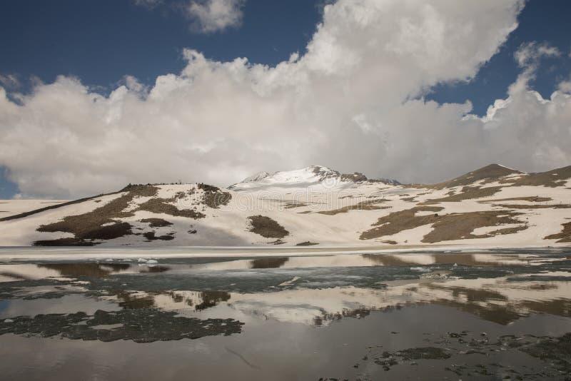 Lake at the Mountains and Snow. Lake at the Mountains Volcanic Lake at the mountains Snowy stock photos