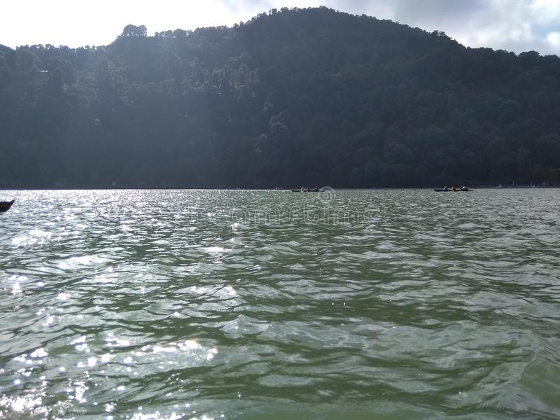 Lake in Nainital Uttarakhand India. It is a picture of beautiful hill station called Nainital in India on a lake known as Naini Jheel during boating stock photos