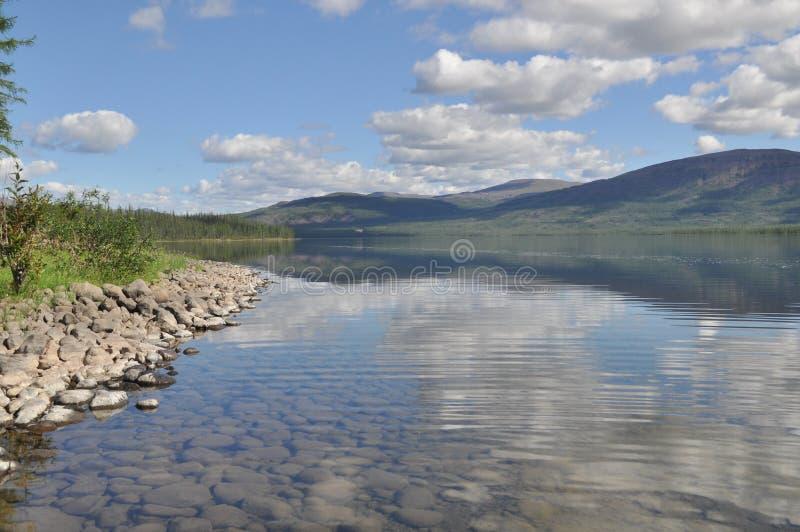 Lake Nakomyaken in the Putorana plateau. stock images