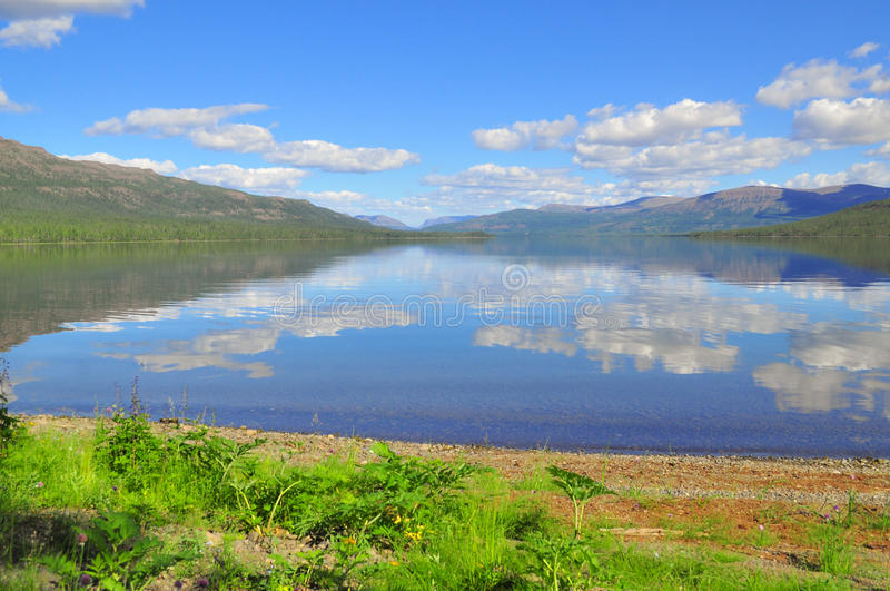 Lake Nakomyaken in the Putorana plateau. stock images